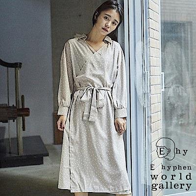 E hyphen mer 7月號揭載款-2Way圓點連身襯衫領綁帶洋裝