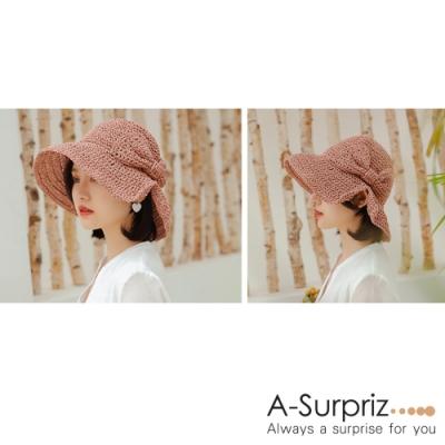 A-Surpriz 開岔蝴蝶結編織遮陽草帽(藕粉)