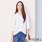 【YIDIE衣蝶】棉質素色花朵刺繡七分袖襯衫