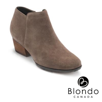 BLONDO-VILLA 時尚極素尖頭粗跟拉鍊短靴-絨墨綠色