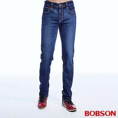 BOBSON 男款低腰異素材直筒褲