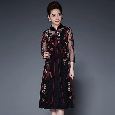 典雅微透刺繡兩件式旗袍洋裝L~4XL(共二色)-糖潮