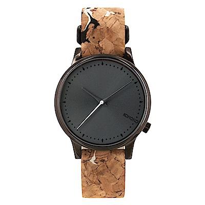 KOMONO Estelle Cork 腕錶-黑色樸質/36mm