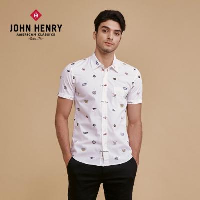 【JOHN HENRY】美式經典LOGO花襯衫-白