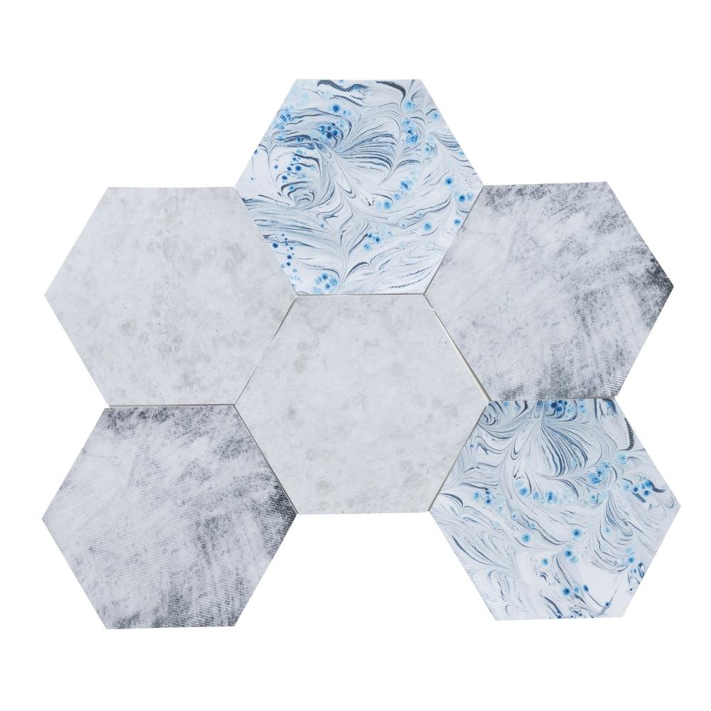 樂嫚妮 六角石紋牆壁貼紙-藍羽毛紋理-20X23cmX10片-防水即撕即貼
