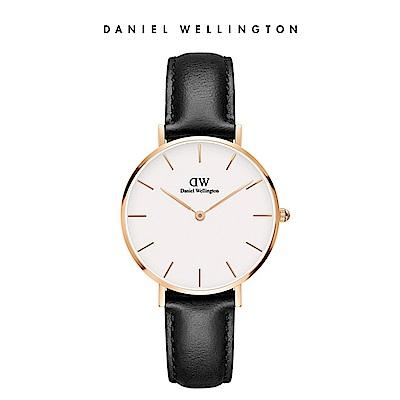 DW 手錶 官方旗艦店 32mm玫瑰金框 Petite 爵士黑真皮皮革錶