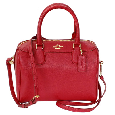 COACH紅色防刮全皮金字飾牌手提/斜背小款波士頓包