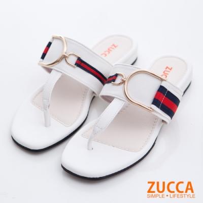 ZUCCA-條紋撞色夾腳平底拖鞋-白-z6810we
