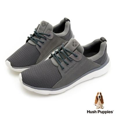 Hush Puppies 異材質拼接綁帶輕量男鞋-灰色