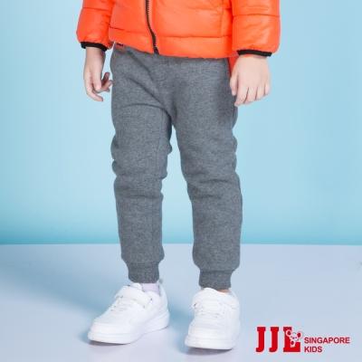 JJLKIDS 簡約素面鬆緊縮口加厚休閒棉長褲(深灰)
