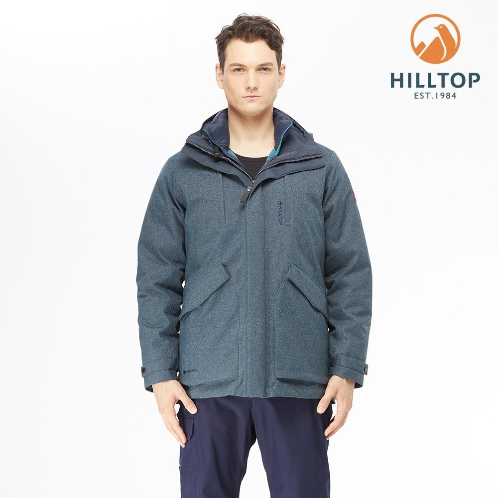 【hilltop山頂鳥】男款GORE-TEX防水透氣二合一羽絨外套F22M05藍夜