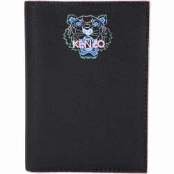 KENZO Tiger 虎頭標誌粒面皮革護照夾(黑色)