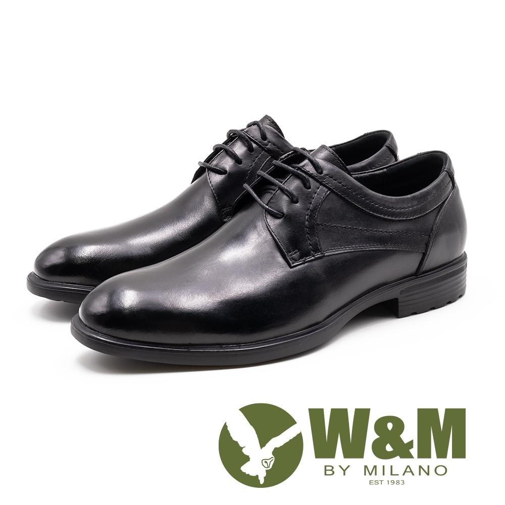 W&M 真皮圓頭低調車線繫帶皮鞋 男鞋 - 黑(另有深棕)