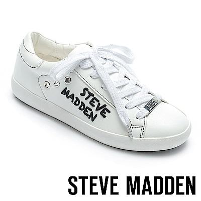 STEVE MADDEN-HAVEN-SM經典LOGO綁帶平底鞋-白色