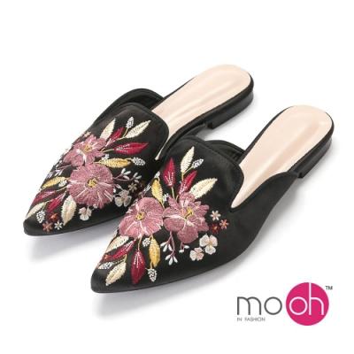 mo.oh-尖頭緞面花卉刺繡拖穆勒鞋-黑色