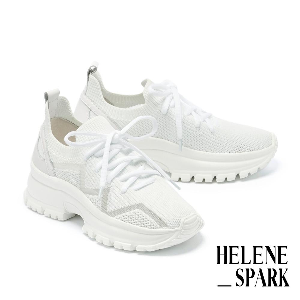 休閒鞋 HELENE SPARK 率性街頭跳色線條飛織厚底休閒鞋-白