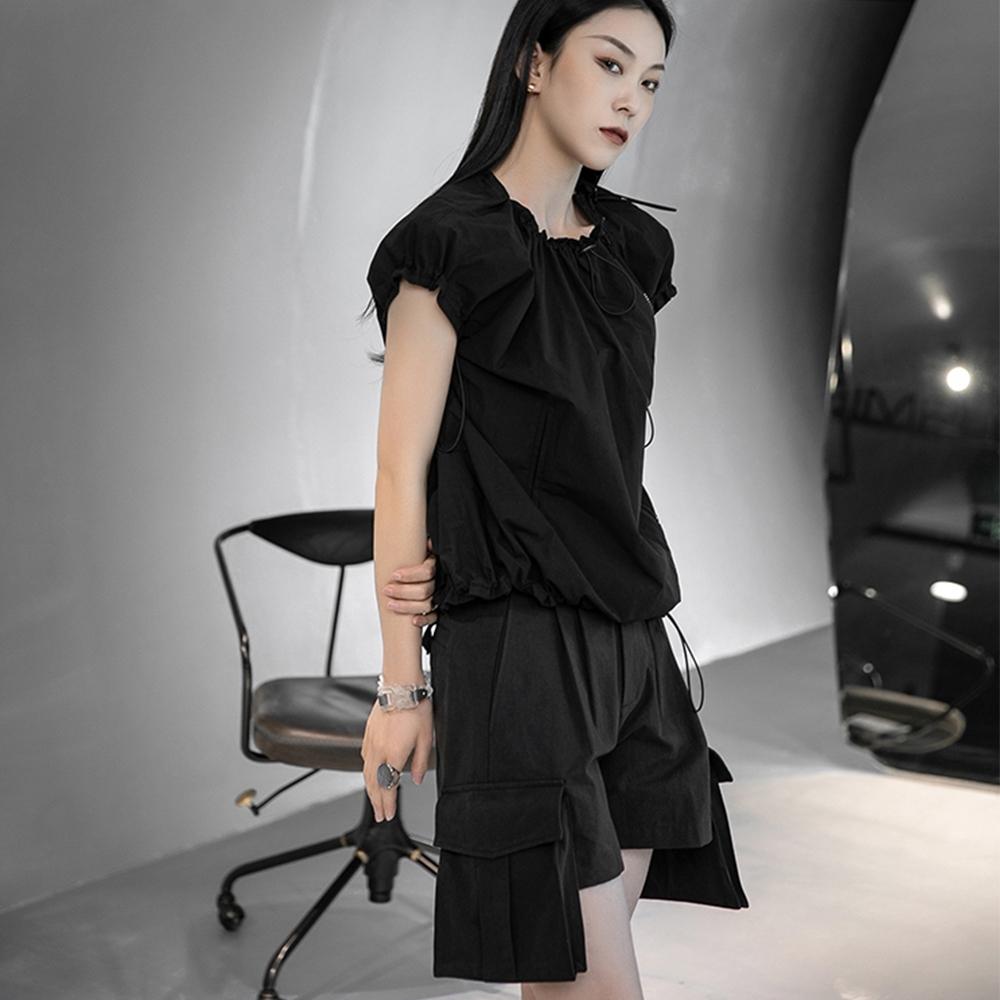 設計所在Style-設計師不規則大口袋韓版五分中短褲 (黑色)