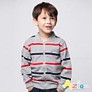 Azio Kids 男童 外套  圓領寬條紋拉鏈長袖外套 (灰紅)