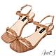 Ann'S氣質麻花石頭紋側V顯瘦方塊粗跟涼鞋-棕(版型偏小) product thumbnail 1
