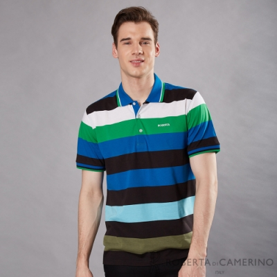 ROBERTA諾貝達 台灣製 配色寬條紋短袖POLO棉衫 藍綠