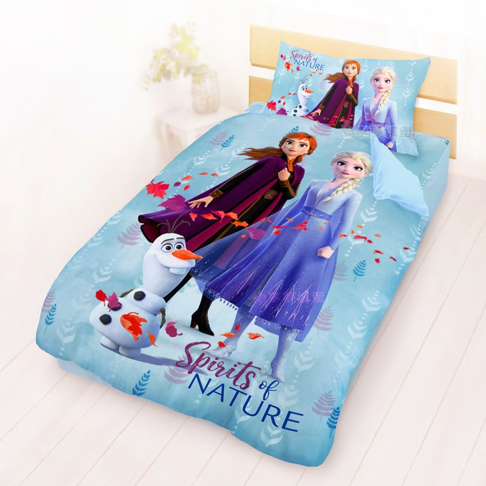 享夢城堡 單人床包薄被套三件組-冰雪奇緣FROZEN迪士尼 秋日之森-藍