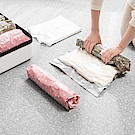 PUSH!居家生活用品手壓式手捲真空壓縮袋旅行便攜帶(黑咖中號4入裝)S58-1