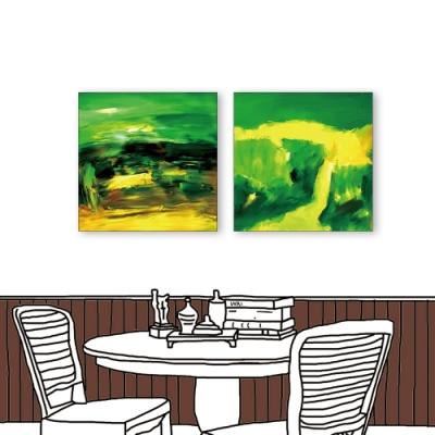 24mama掛畫 -二聯式 黃綠媒合 藝術抽象 油畫風無框畫 50X50cm-抽象的含意