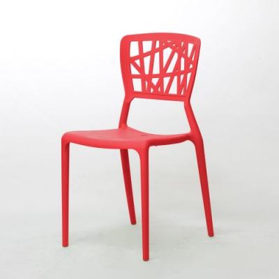 【Amos】台灣製幾何造型一體成形塑膠餐椅