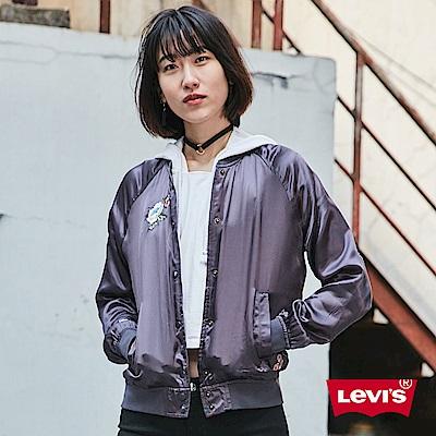 Levis 女裝 黑色立領棒球外套 花刺繡