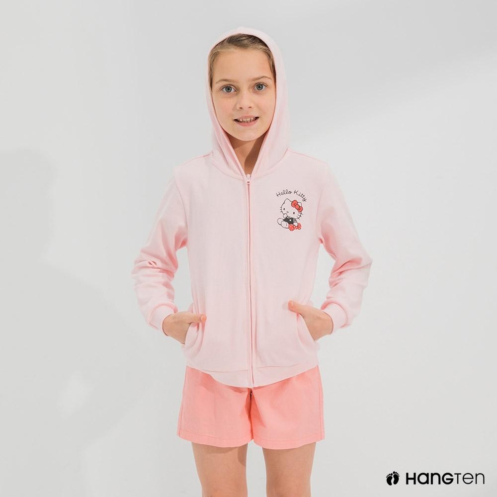 Hang Ten-女童-Sanrio斜插袋連帽外套-粉色