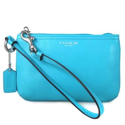 COACH LEGACY 土耳其藍色全皮革燙銀LOGO手拿包(展示品)