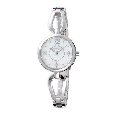 MANGO 晶鑽冬雪貝殼面腕錶-銀(MA6730L-81)-25mm