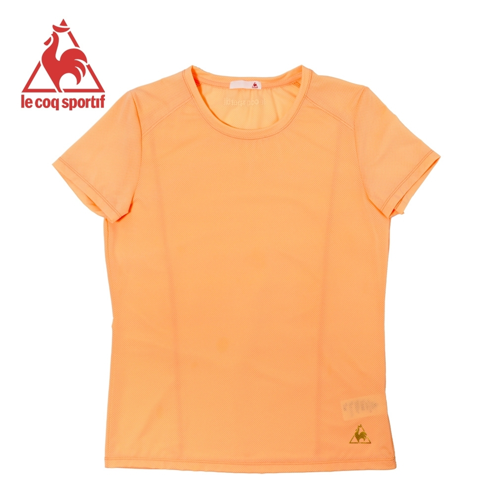 le coq sportif 法國公雞牌亮色吸溼排汗薄款運動短袖T恤 女-嫩橘