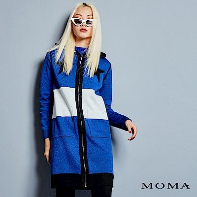 MOMA 雙面連帽針織長外套