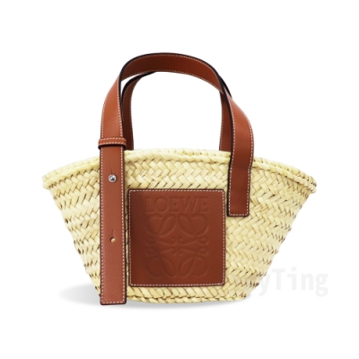 LOEWE Basket 經典LOGO烙印皮革竹編提籃手提/肩背包(小-焦糖棕)