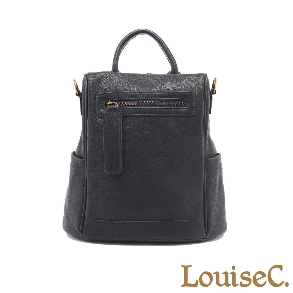【LouiseC.】植鞣革牛皮後背包(小尺寸)-藍色 (WI91209-09)
