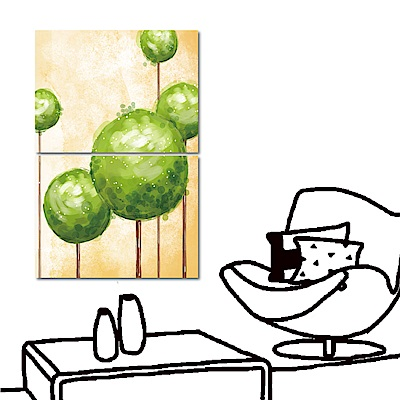 橙品油畫布 兩聯式橫幅 掛畫無框畫-球球樹40x30cm