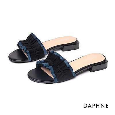 達芙妮DAPHNE 涼鞋-清新甜美波浪抓皺時尚平底拖鞋-黑色