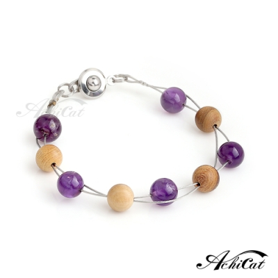 AchiCat手作天然檀香珠鋼手鍊紫水晶珠光寶氣