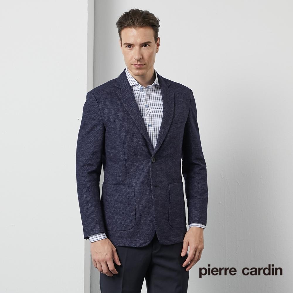 Pierre Cardin皮爾卡登 男裝 男裝 時尚針織休閒西裝外套-深藍色(5195501-37)