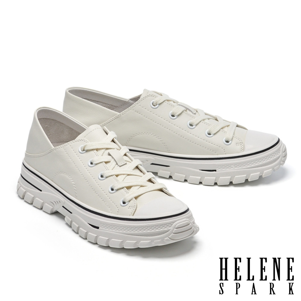 休閒鞋 HELENE SPARK 街頭時髦綁帶造型全真皮厚底休閒鞋-白