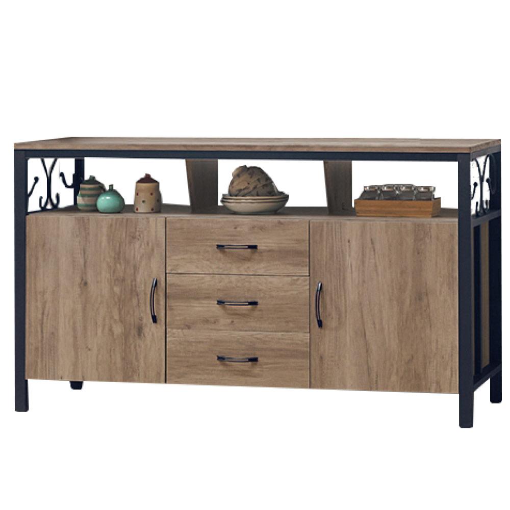 綠活居 波尼亞時尚5尺木紋餐櫃/收納櫃(二色可選)-151x41x82cm-免組