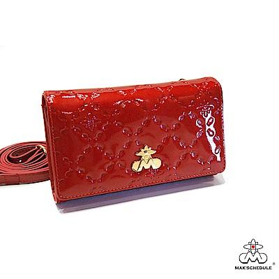 MAK SCHEDULE- 有魚系列2 菱形壓魚紋珍珠牛皮手機獨處隨身包夾 - 愛魚紅