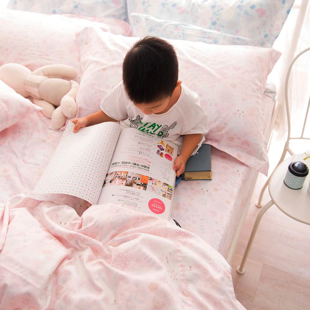 OLIVIA  森林小兔 粉  標準單人床包枕套兩件組 300織精梳純棉