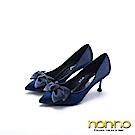 nonno 諾諾 高雅動人 氣質絲綢緞帶高跟鞋 藍
