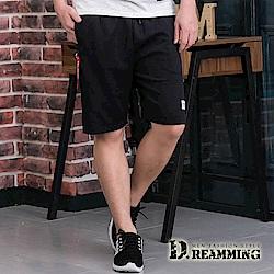 Dreamming 美式經典布標抽繩彈力休閒運動短褲-共二色