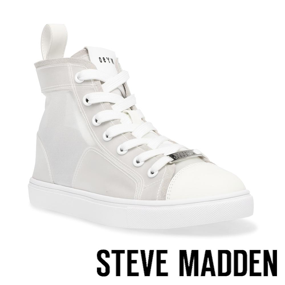 STEVE MADDEN-CRUSADER 百搭款高筒拼接休閒小白鞋-灰白色