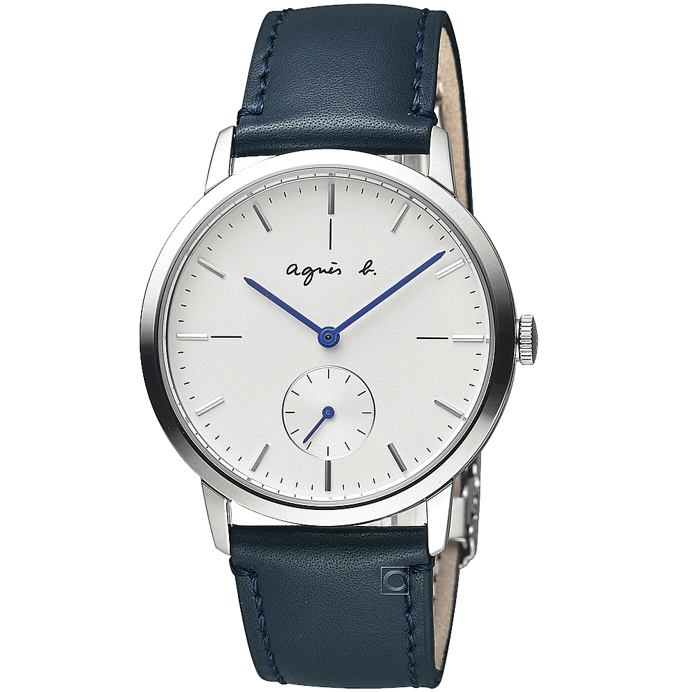 agnes b.法式簡約小秒針時尚腕錶-藍X白-38mm