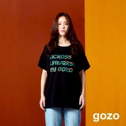 gozo 立體感造型印花T恤(黑色)