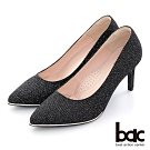 【bac】 尖頭金屬沿條金蔥布高跟鞋-黑